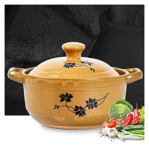 Pote de cocina Casserole Casserole plato con tapa, olla de barro amarillo para cocinar, taza de cerámica de cazuela sin palanca, caja fuerte, olla de piedra hecha de arcilla natural, artesanías tradic