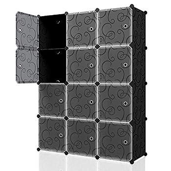 KOUSI Portable Cube Storage - 14 x14  Cube Wire Cube Organizer Storage Organizer Clothes Storage Storage Shelves Shelf for Clothes Plastic Dresser Storage Cubes Black  3x4 Cubes