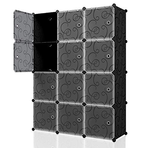 """KOUSI Portable Cube Storage - 14""""x14"""" Cube Wire Cube Organizer Storage Organizer Clothes Storage Storage Shelves Shelf for Clothes Plastic Dresser Storage Cubes, Black (3x4 Cubes)"""