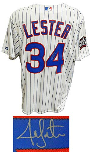 Jon Lester Signed Chicago Cubs White Pinstripe 2016 World Series Patch Majestic Jersey - Autographed MLB Jerseys