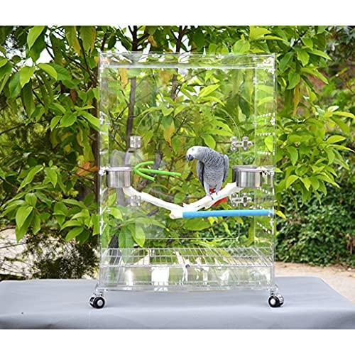 jaula De Pájaros De Acrílico Loro Grande Transparente Villa De Lujo Pájaros Cría Pájaros Reproductiva Anti-voladora De Loros (Color : Blanco, Size : 60 * 50 * 80cm)