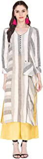 STOP by Shoppers Womens V Neck Striped Kurta and Palazzo Set