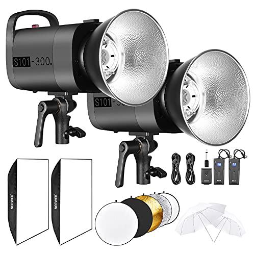 """Neewer Strobo Flash 300W da Studio Fotografico: (1) Monoluce (1) 200cm Stativo (1) Softbox (1) RT-16 Wireless Trigger Set (1) 33"""" Ombrello Fotografico per Video Fotografia in Esterni & Ritratti"""