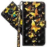 MRSTER Nokia 7.2 Handytasche, Leder Schutzhülle Brieftasche Hülle Flip Hülle 3D Muster Cover mit Kartenfach Magnet Tasche Handyhüllen für Nokia 6.2 / Nokia 7.2. YX 3D - Golden Butterfly