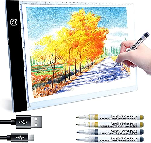 Smmapens Mesa de Luz para Calcar, A4 LED Mesa de Luz Dibujo Tableta de Luz para Dibujar USB proyector para Dibujar para Tatoo Dibuja Caligrafía Animacion