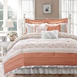 Madison Park 100% Cotton Comforter Set-Modern Cottage Design All Season Down Alternative Bedding, Matching Shams, Bedskirt, Decorative Pillows, Queen(90'x90'), Dawn Shabby Chic, Coral, 9 Piece
