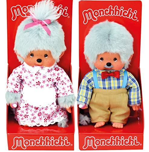 Sekiguchi Monchhichi Puppe Großmutter und Großvater Oma und Opa im Set