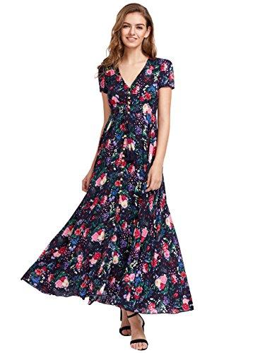 Milumia Women's Button Up Split Floral Print Flowy Party Maxi Dress Multicolour-2 Small