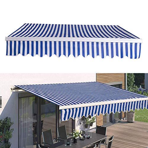 TolleTour manuelle Gelenkarmmarkise Markise Sonnenmarkise Sonnenschutz, 3 x 2,5 m, Sehr gut verarbeitet und solide, Effektiver Sonnenschutz, Neigungswinkel bis 30 Grad, Blau Weiß