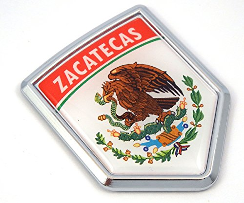 Zacatecas Mexico Flag Mexican Car Emblem Chrome bike Decal 3D Sticker MX24
