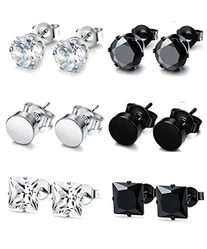 FUNRUN JEWELRY 6 Pairs Stainless Steel Stud Earrings for Men Women CZ Round Earrings Black 5mm