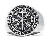 Windalf Runen Wikinger Ring VEGVESIR h: 1.8 cm Lebens Kompass Asatru 925 Sterlingsilber (Silber, 62 (19.7))