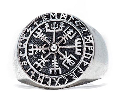 Windalf Runen Wikinger Ring VEGVESIR h: 1.8 cm Lebens Kompass Asatru 925 Sterlingsilber (Silber, 60 (19.1))