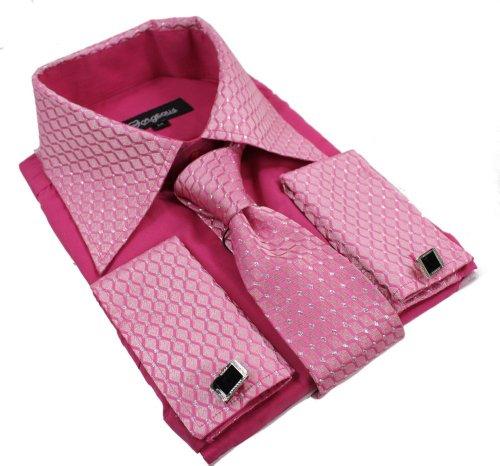 The Gorgeous 1 Chemise Homme Boutons cravatte Pochette Fuschia Brillant Coupe ajustée