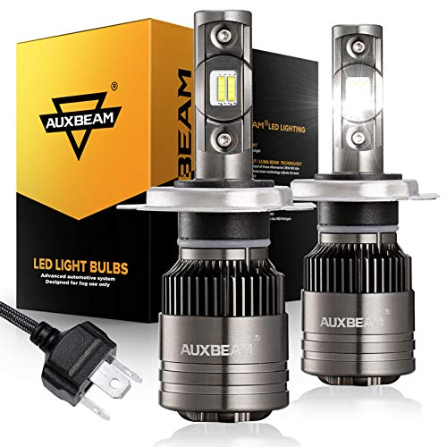 Auxbeam H4 LED Bulbs, 9003 LED Light Bulb with Temperature Control 2 Pcs of Led Conversion Kits 70W 8000lm LED Chips F-T1 Series