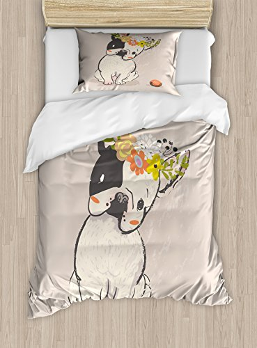 Lunarable Dog Duvet Cover Set, Hand Drawn French Bulldog with Wreath on Its Head Watercolor Domestic Pet Illustration, Decorative 2 Piece Bedding Set with 1 Pillow Sham, Twin Size, Pale Rose