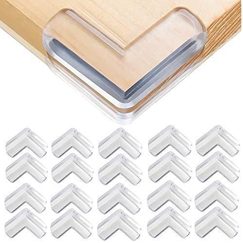 Ecken Kantenschutz, 20 Stücke L-förmiger Eckenschutz, Kinder Weiche Tischeckenschutz für Möbel gegen scharfe Ecken Transparent