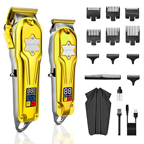 MOSMAOO Cordless Hair Clippers for Men + Hair Trimmer Kit, Professional Clippers for Hair Cutting Kit &Beard Trimmer with LED Display. Barberclippers, Self-Haircut Complete Grooming Kit