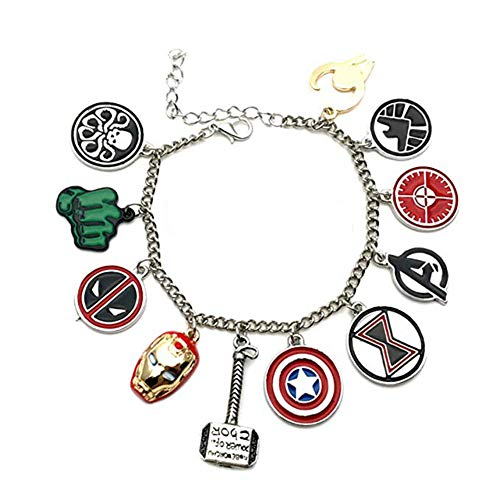 Athena Marvel Comics The Avengers (11 Themed Charms) Metal/Enamel Charm Bracelet (Silver)