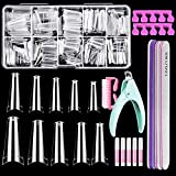 Coffin Nail Tips, IKOCO 500Pcs Clear Nail Tips Ballerina False Nails Coffin Nail Tips for Acrylic Nails with Glue Files and Buffers Clipper Brush for Beginners