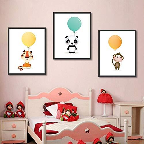 Geiqianjiumai Cartoon klein schattig dier met ballon canvas poster muur kunst poster kunst schilderij muurschildering huisdecoratie frameloze schilderij
