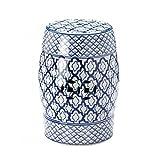 KOEHLER 10017922 Accent Plus Blue and White Ceramic Decorative Stool
