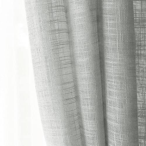 SDFW Cortina de ramio Semi sombreado de Lino Moderno Hilo de cáñamo de Estilo Chino Cortinas Transparentes de Color Puro decoración del hogar para Sala de Estar