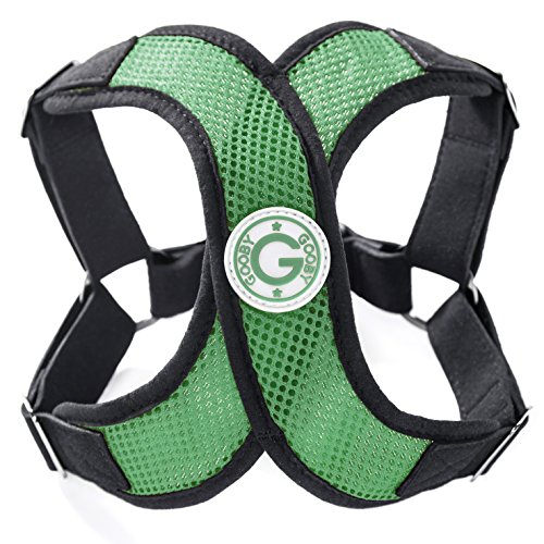 Gooby - X Harness, Small Dog Choke Free Step-in Harness with Synthetic Lambskin Soft Strap, Hunter Green, Medium