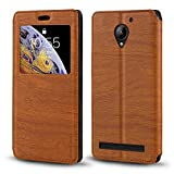 Lenovo C2 Case, Wood Grain Leather Case with Card Holder
