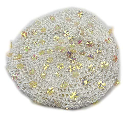 Evil Wear 50er Jahre Damen Stoff-Hut beige Monro. Design Haar-Schmuck Rockab. Kopf-Tuch hell braun Muetze grob-maschige Kopfbedeckung