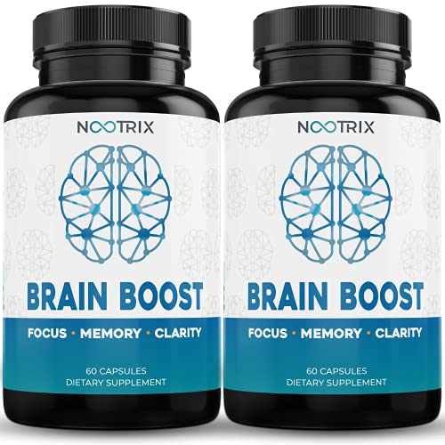 Brain Boost by Nootrix - (2-Pack) 120 Capsules - Premium Nootropic Supplement - Improves Cognitive Function & Memory, Enhances Focus, Boosts Concentration & Provides Clarity for Men and Woman