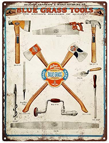 Rebecca Simpson Blue Grass Tools Axes Hammer Metal Sign Ad Repro 12