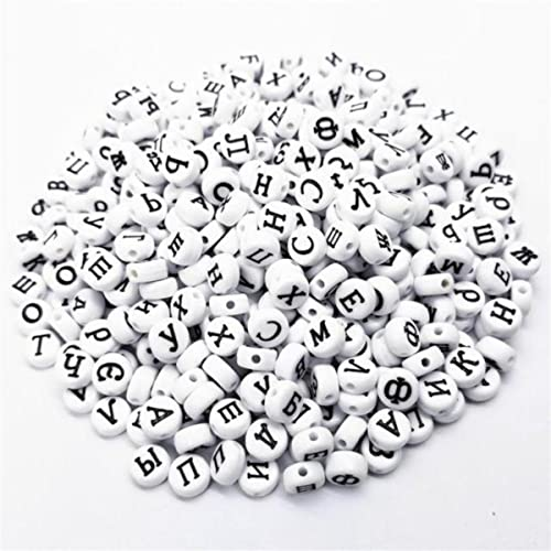 Venta caliente Nuevo 100 Unids / lote Plano / Cuadrado Acrílico Letra rusa DIY Perlas sueltas para collar Accesorios de joyería Pulsera Al por mayor-CN, negro plano