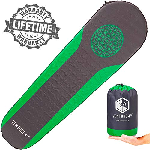VENTURE 4TH Self Inflating Camping Pad - No Pump or Lung Power Required - Warm, Quiet and Supportive Camp Mattress - Sleeping Bag Air Mattress (Green/Gray)