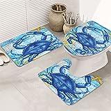 Gagaga Blue Crab Welcome Summer Nautical Starfish Seashell Bathroom Rug Mats Set 3 Piece Anti-Skid Pads Bath Mat + Contour + Toilet Lid Cover Bathroom Antiskid Pad
