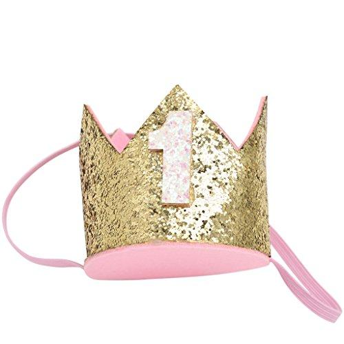Lyguy Baby Kroon Hoofdband, Baby Kroon Hoofdband Prinses Haarband Tiara Hoofddeksels Verjaardag Party Accessoires Goud