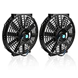 (Pack of 2) 10' Universal Radiator Cooling Fans 12V 80W Slim Fan Push Pull Electric Engine Fan with Mount Kit(Diameter 10.75' Depth 2.56')