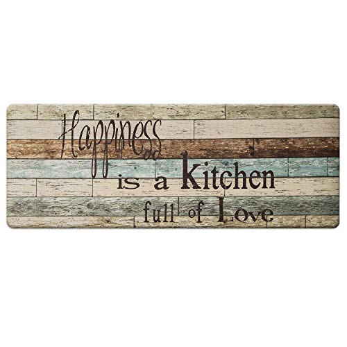 Farmhouse Kitchen Mats Cushioned Anti-Fatigue Comfort Mat for Home & Office Ergonomically Engineered Memory Foam Kitchen Rug Waterproof Non-Skid, 47' by 17',Happiness
