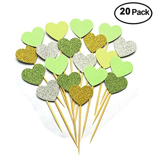 iMagitek 20pcs Glitter Hearts Cake Decorations for Wedding Party, Hen Party, Bachelorette Party, Birthday Party - Green