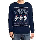 Shirtgeil Merry Fishmas! Regalo di Natale per Pescatori Felpa/Maglione da Uomo Medium Navy