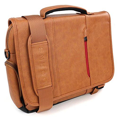 """Snugg - Borsa Messenger A Tracolla E Bandoliera In PU Pelle Marrone - Fino Laptop A 39 cm (15.6"""")"""