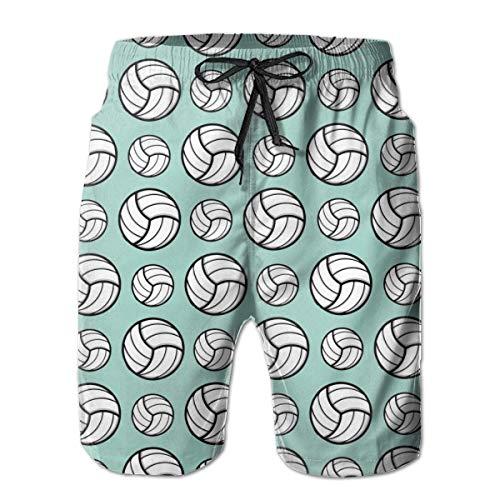 QUEMIN Patrón Deportivo de Voleibol Min Green Men Casual Swim Trunks Shorts de Tabla de Secado rápido Transpirables con Bolsillos L