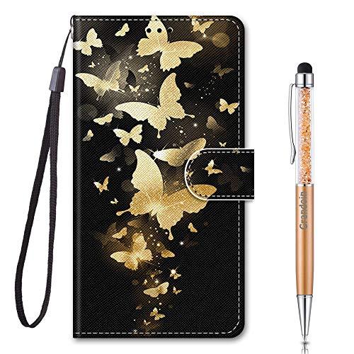 Grandoin für Huawei Honor 9A Hülle, Handyhülle im Brieftasche-Stil, Handytasche PU Leder Flip Cover 3D Muster Bunte Muster Book Hülle Case Schutzhülle für Huawei Honor 9A (Gelber Schmetterling)