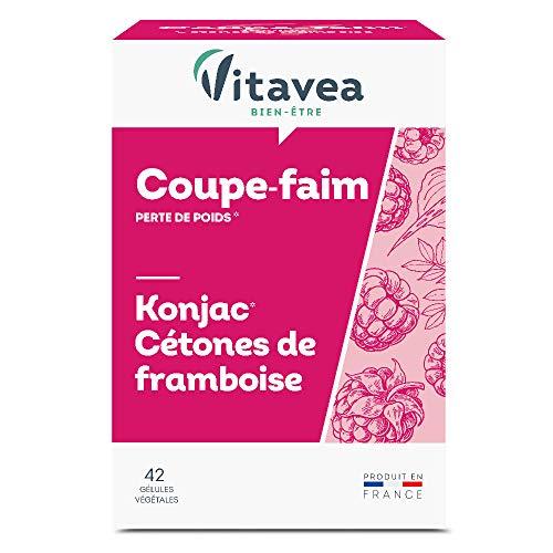 Vitavea - Konjac & Cétones de framboise - complément alimentaire coupe faim - perte de poids - fabriqué en France - 42 gélules végétales