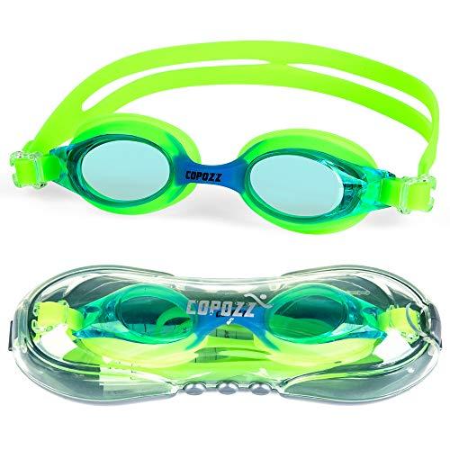Copozz Kinder Schwimmbrille, Swim Schwimmbrille für Kinder Junior Jungen Mädchen – Alter 3 4 5 6 7 8 9 10 11 12 Jahre – Anti Nebel UV-Schutz kein Leck – Spiegel/Clear Lens (#2-Blau)