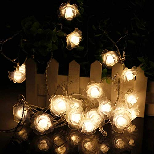 ATNEET  20 Led Rose Flower String Lights Decoration Fairy Lights Wedding Home EU plug Powered Warm white