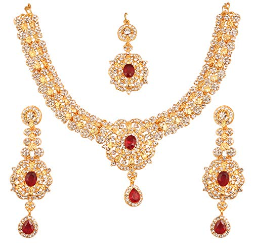 Touchstone New Indian Bollywood Desire Enchanting Floral Diamond Studded Look White Rhinestone Red Faux Ruby Bridal Designer Jewelry Necklace Set in Gold Tone for Women