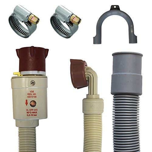 Anschluss Set Aquastopschlauch +Ablaufschlauch +2Schellen für Waschmaschine und Geschirrspüler (2 Meter)