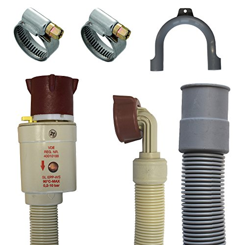Anschluss Set Aquastopschlauch +Ablaufschlauch +2Schellen für Waschmaschine und Geschirrspüler (3 Meter)