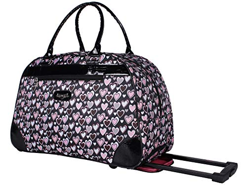 Kathy Van Zeeland Designer 22 Inch Carry On - Weekender Overnight Business Travel Luggage - Lightweight Printed 2-Rolling Spinner Wheels Duffel Bag (Heart Pink)